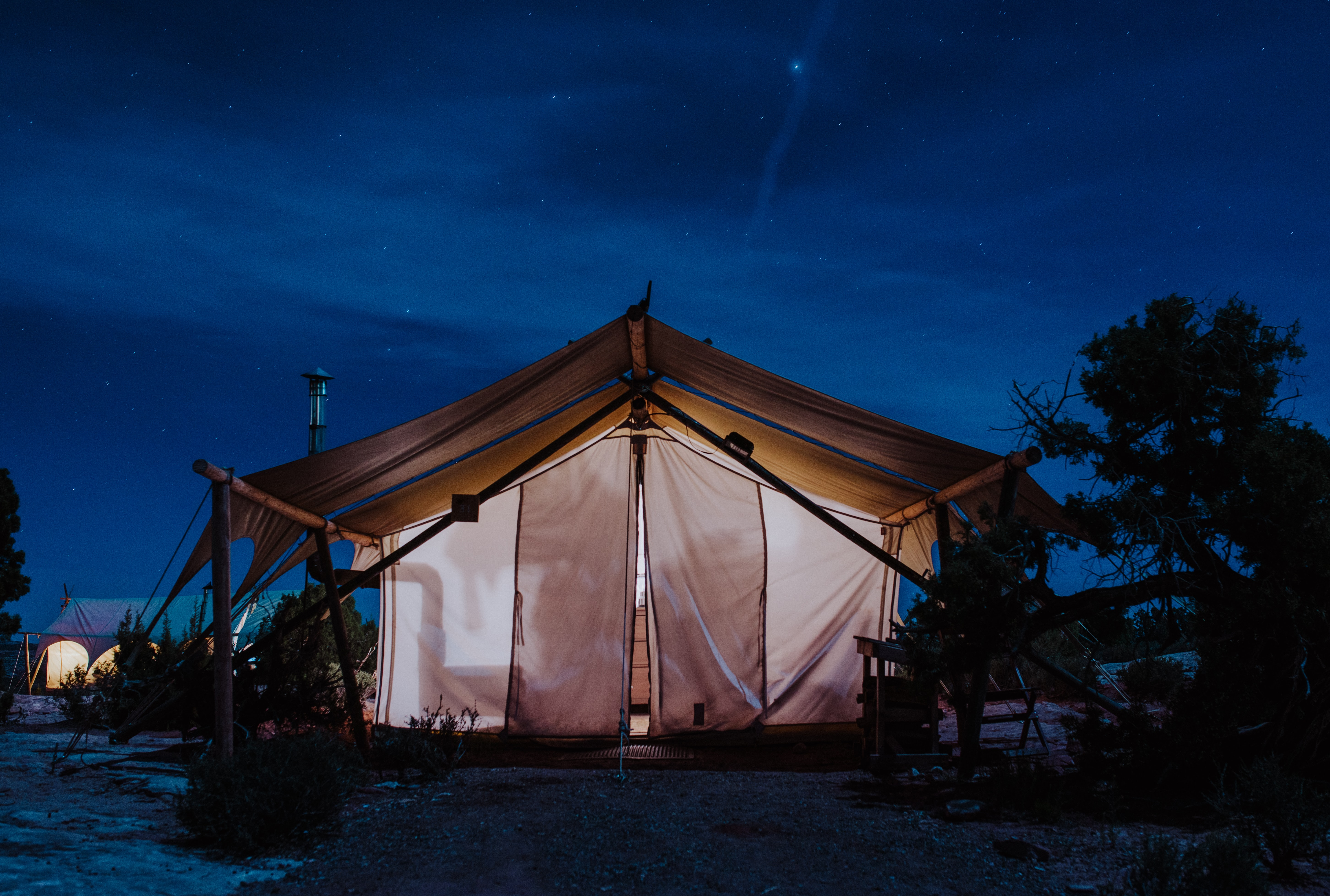 white tent under clear sky during night time