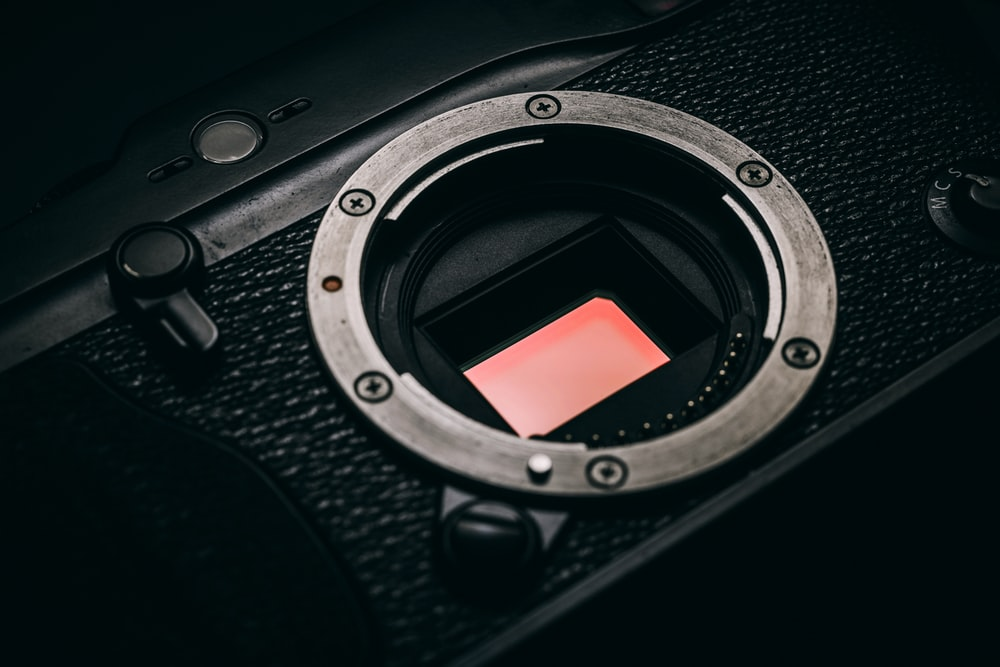 close-up photo of black camera body