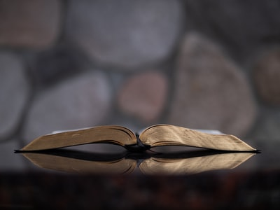 open book on glass table bible zoom background