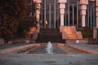 outdoor water fountain in shallow-focus shot