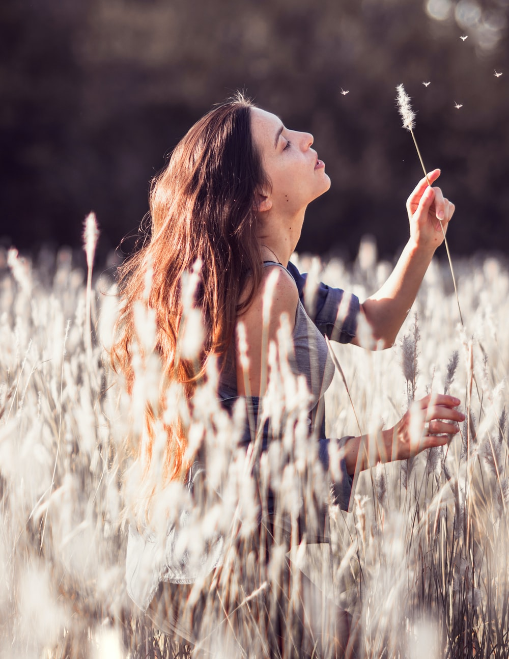 woman blowing white flower in the middle of field