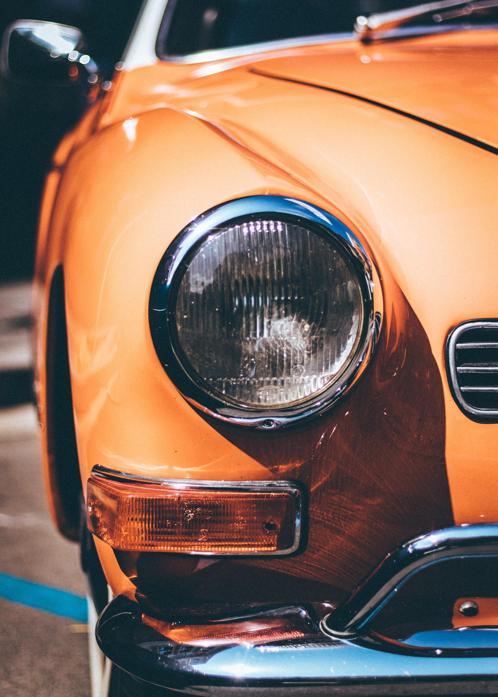 closeup photo of vehicle headlight