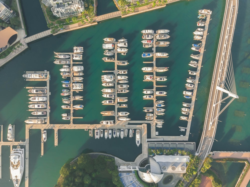 aerial photo of docked boats during daytime