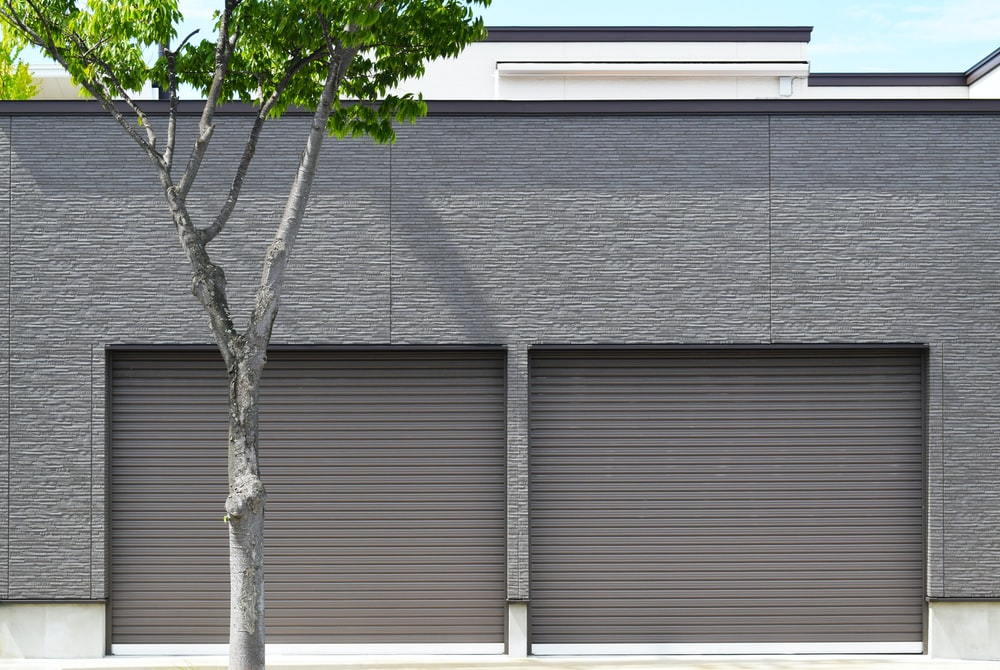 closed gray roller shutters