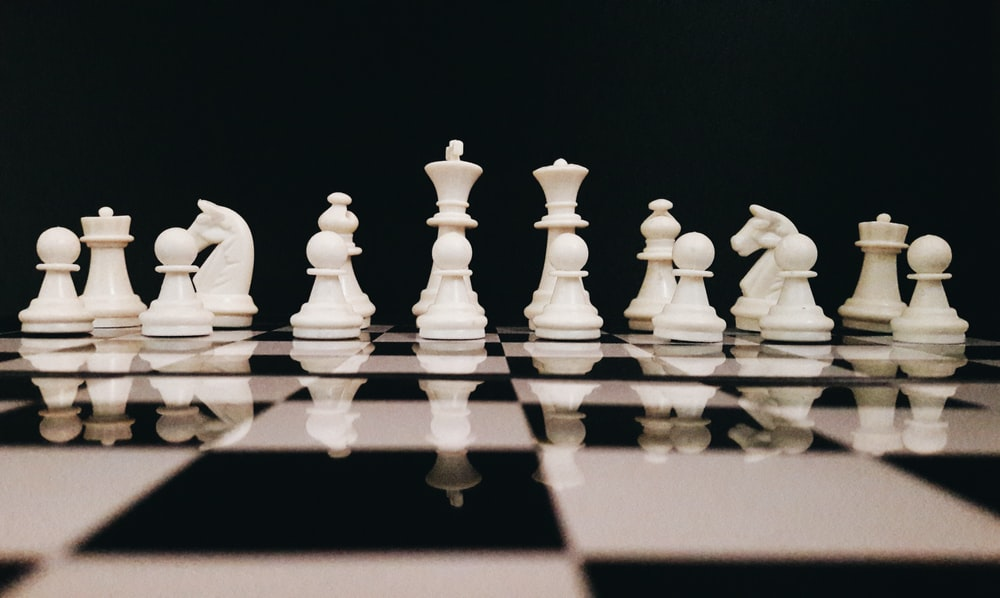 white chess game set