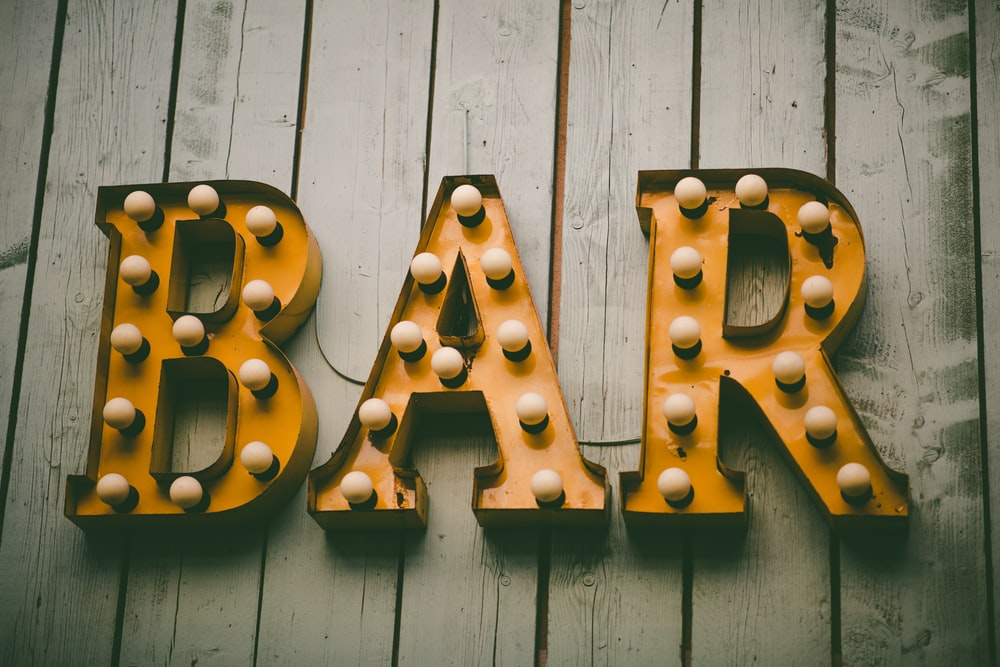yellow Bar marque light signage