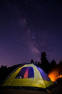 camping tent under starry night