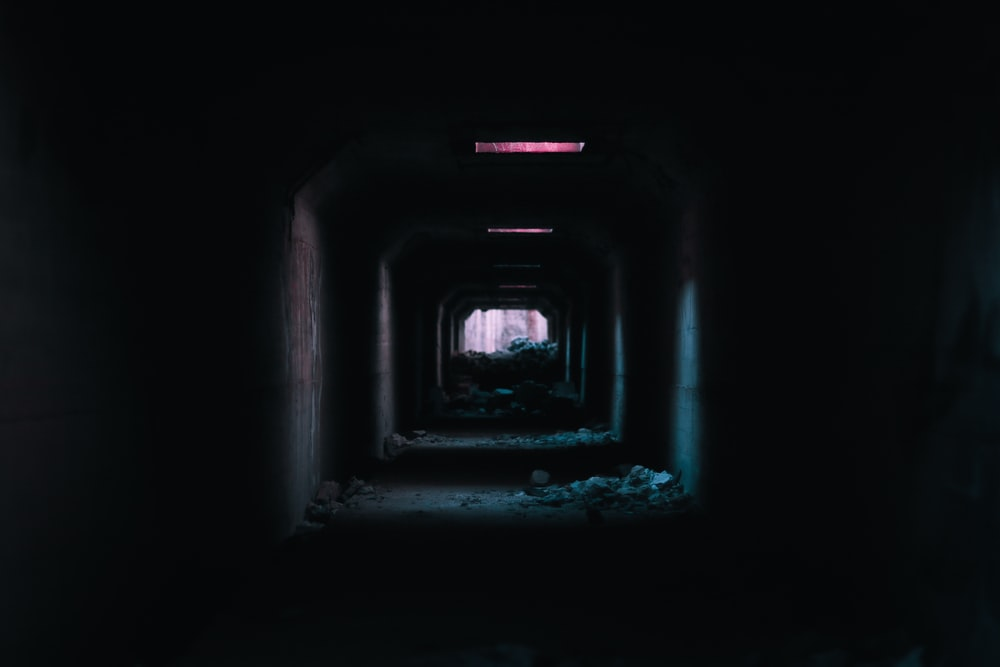 empty tunnel with spotlights