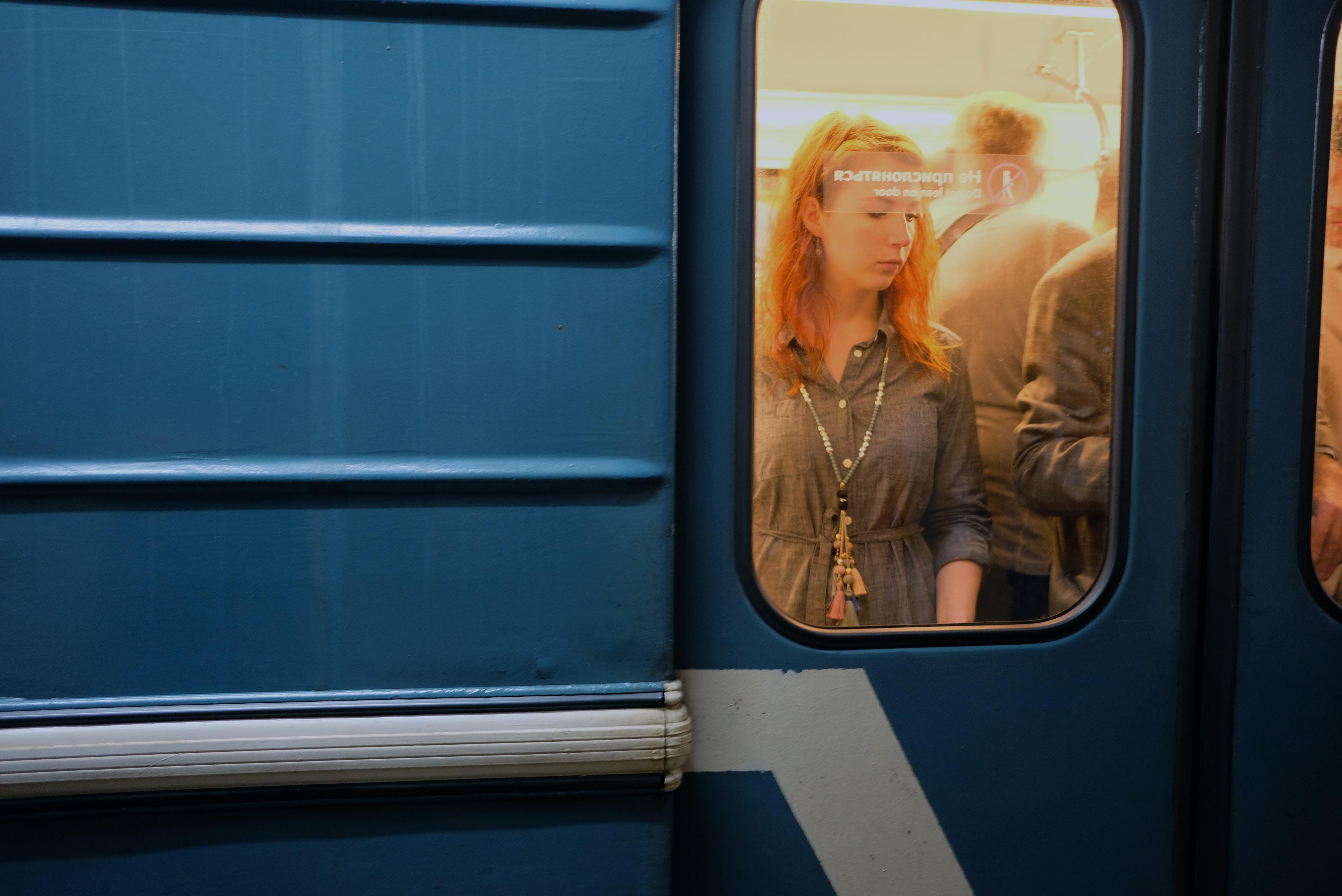 people riding train