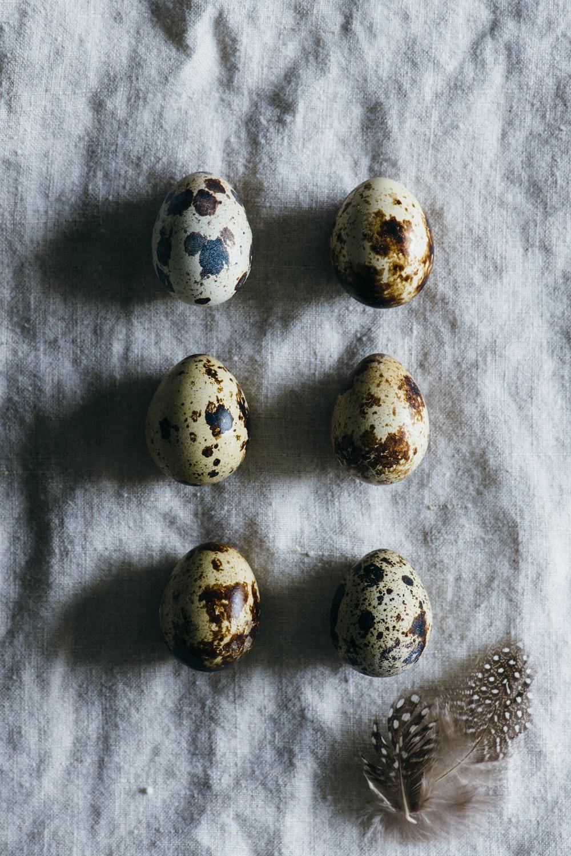 six quail eggs on grey cloth