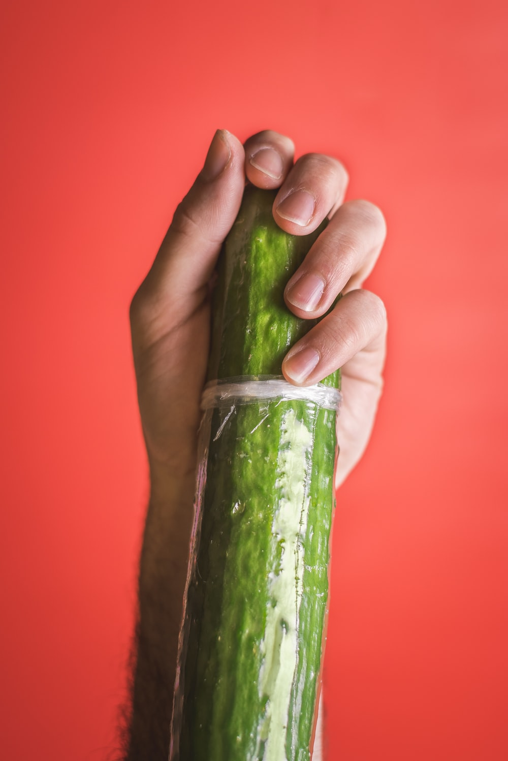 hand grasping a giant green cucumber