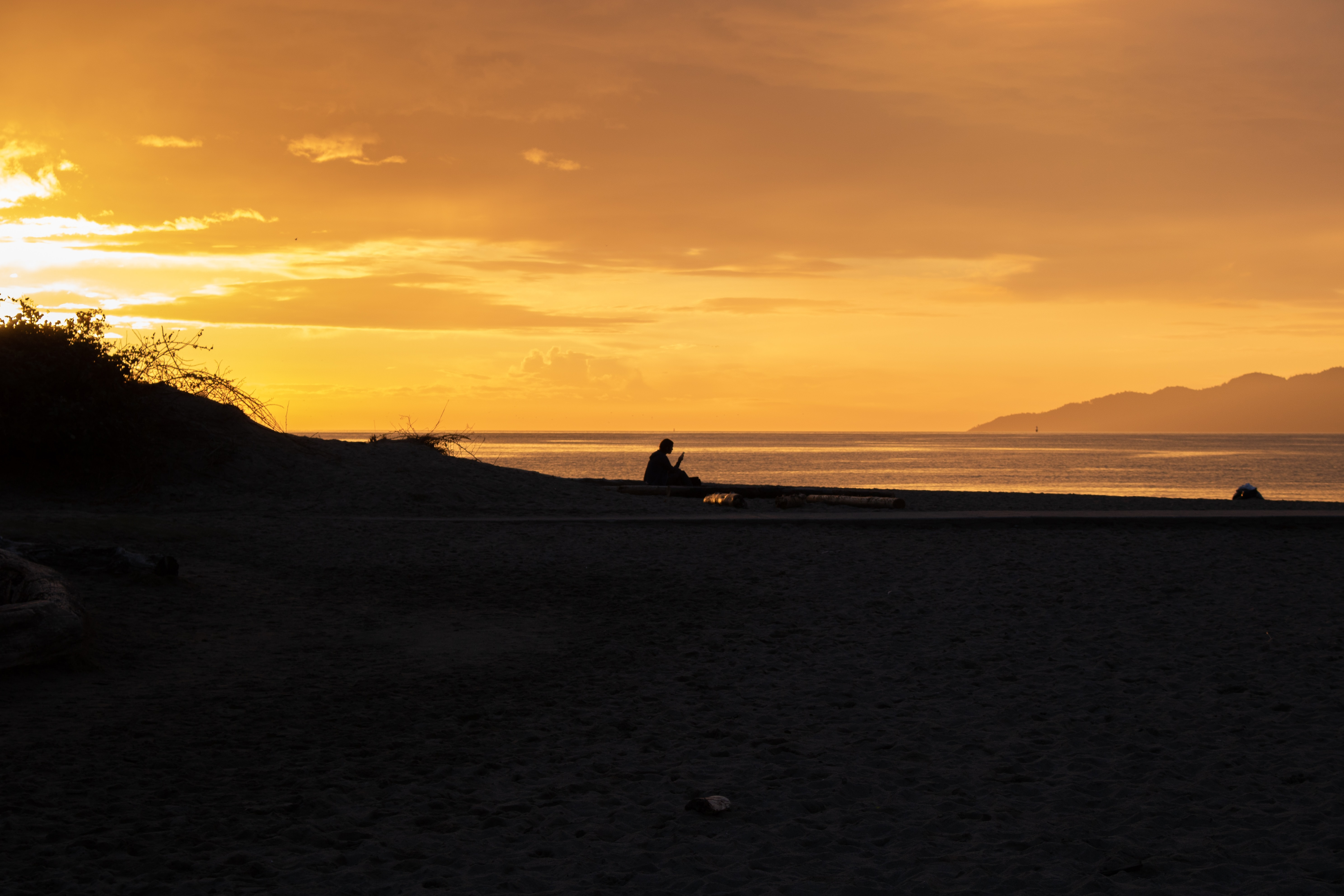 silhouette of man sitting on beach during golden hour