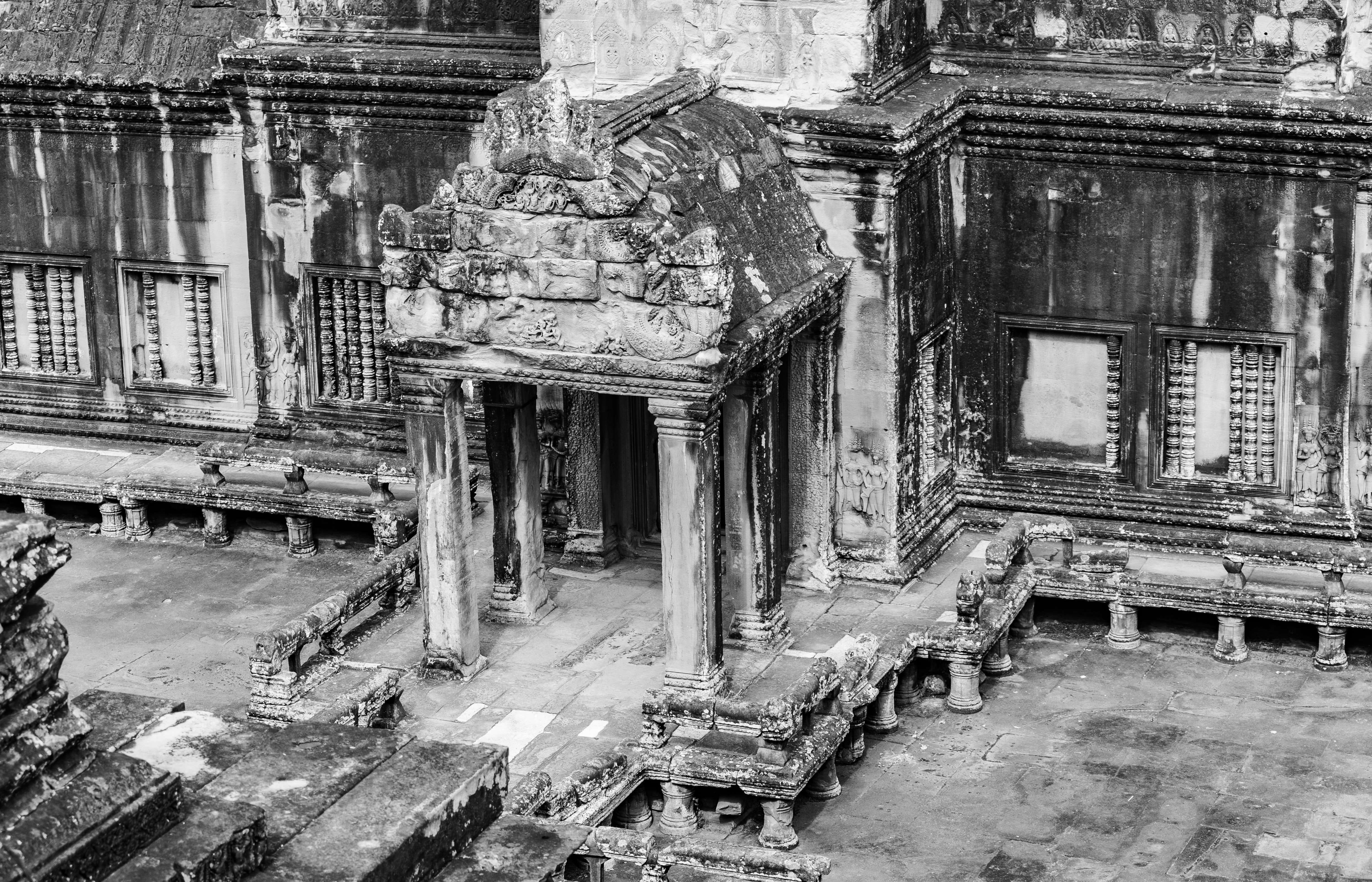 grayscale photography of temple