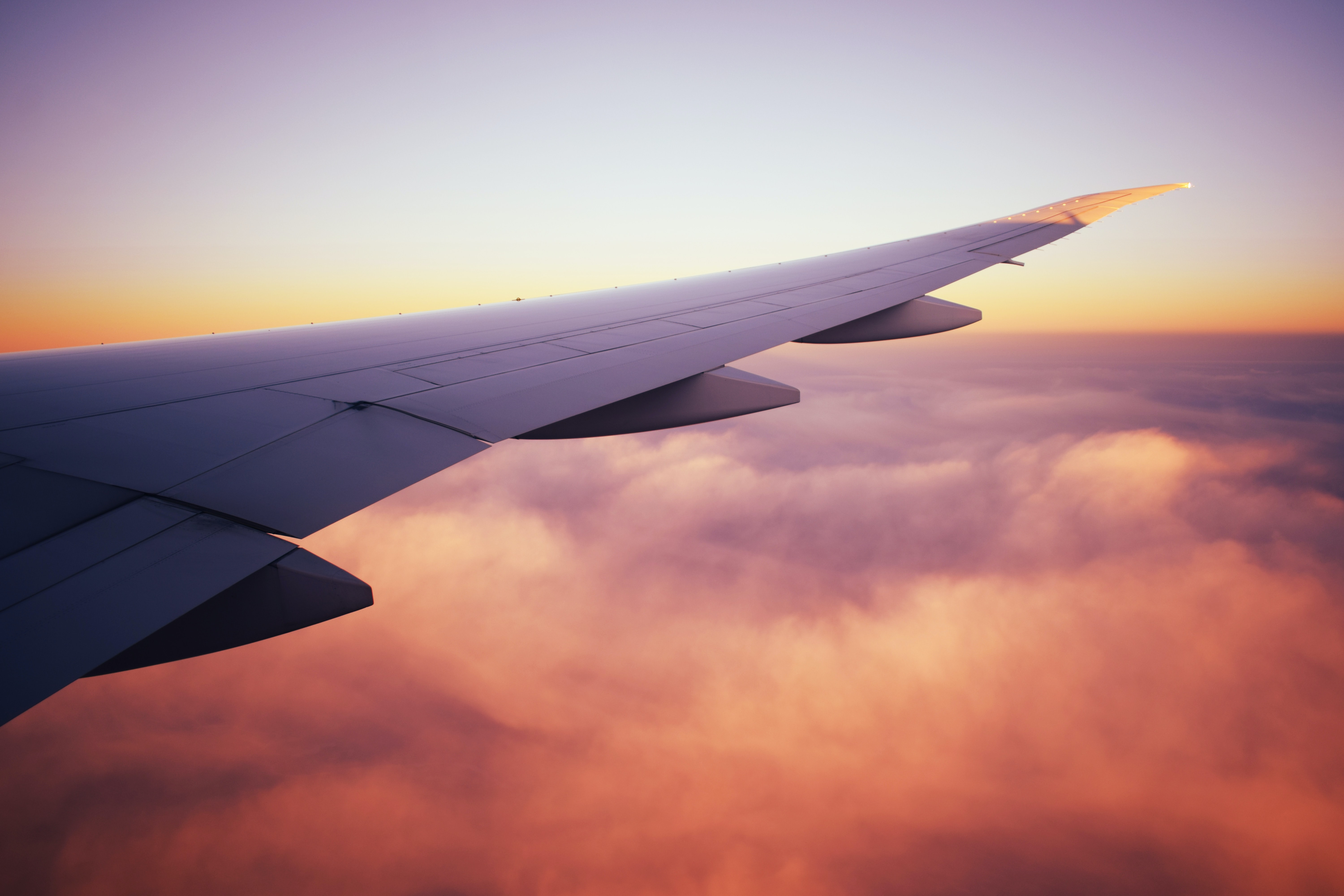 focus photo of airplane wing