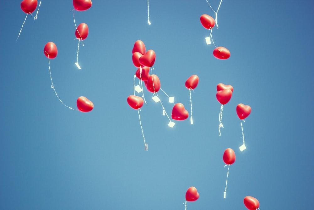red heart balloon lot