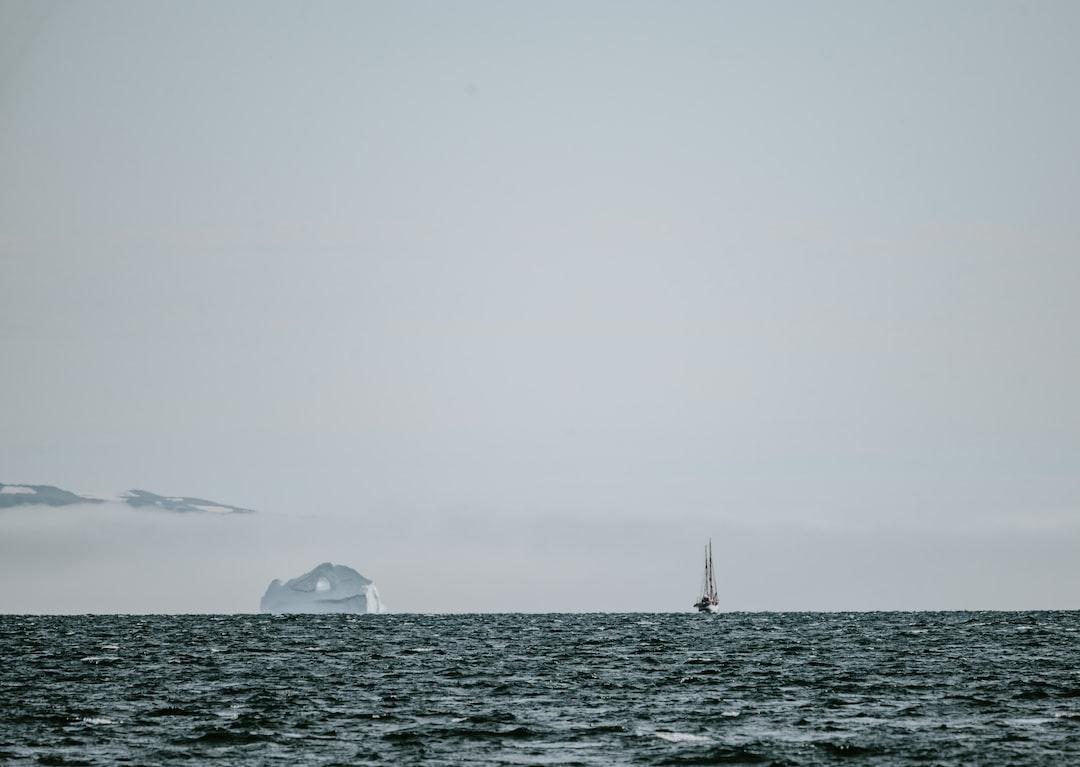 Boat sailing past iceberg in the Arctic