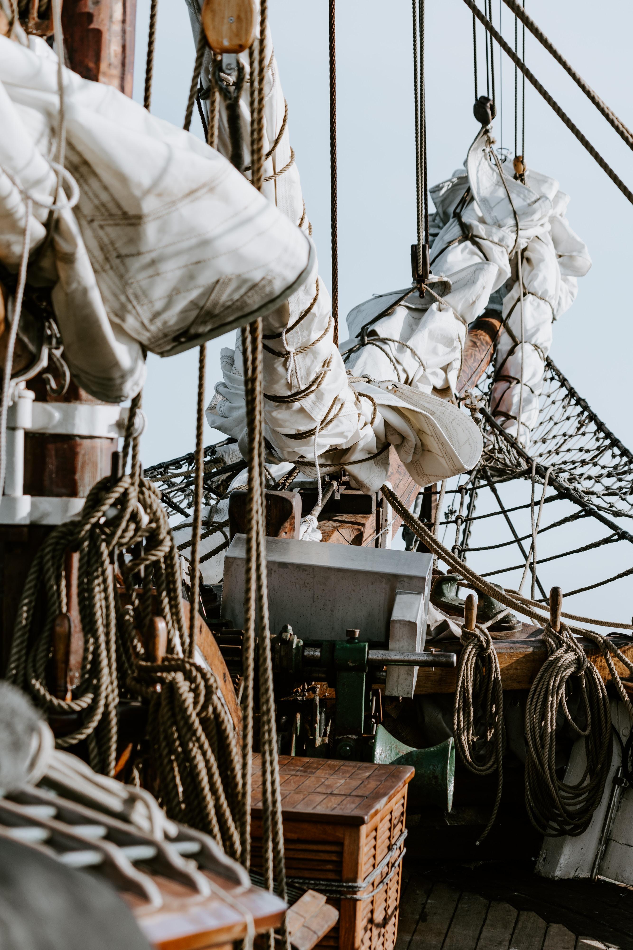 folded ship sail