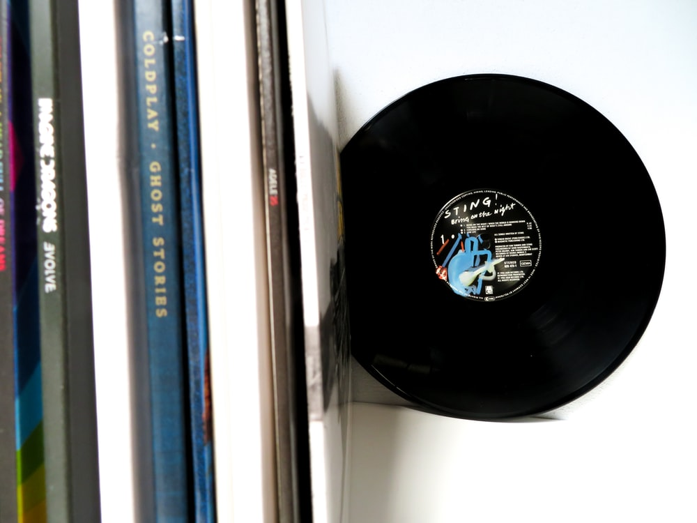 vinyl record on white desk