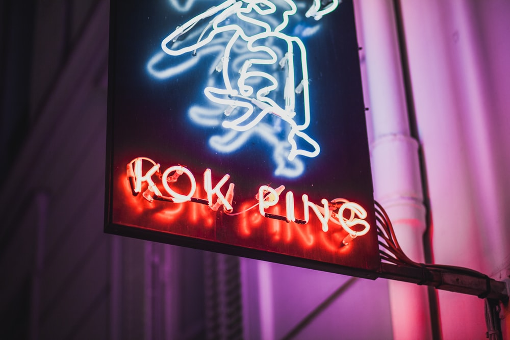 Rok Ping neon sign of building
