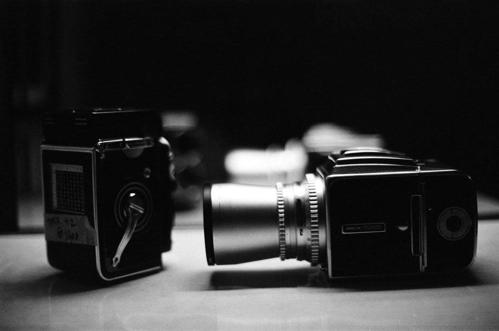 grayscale photo of camera