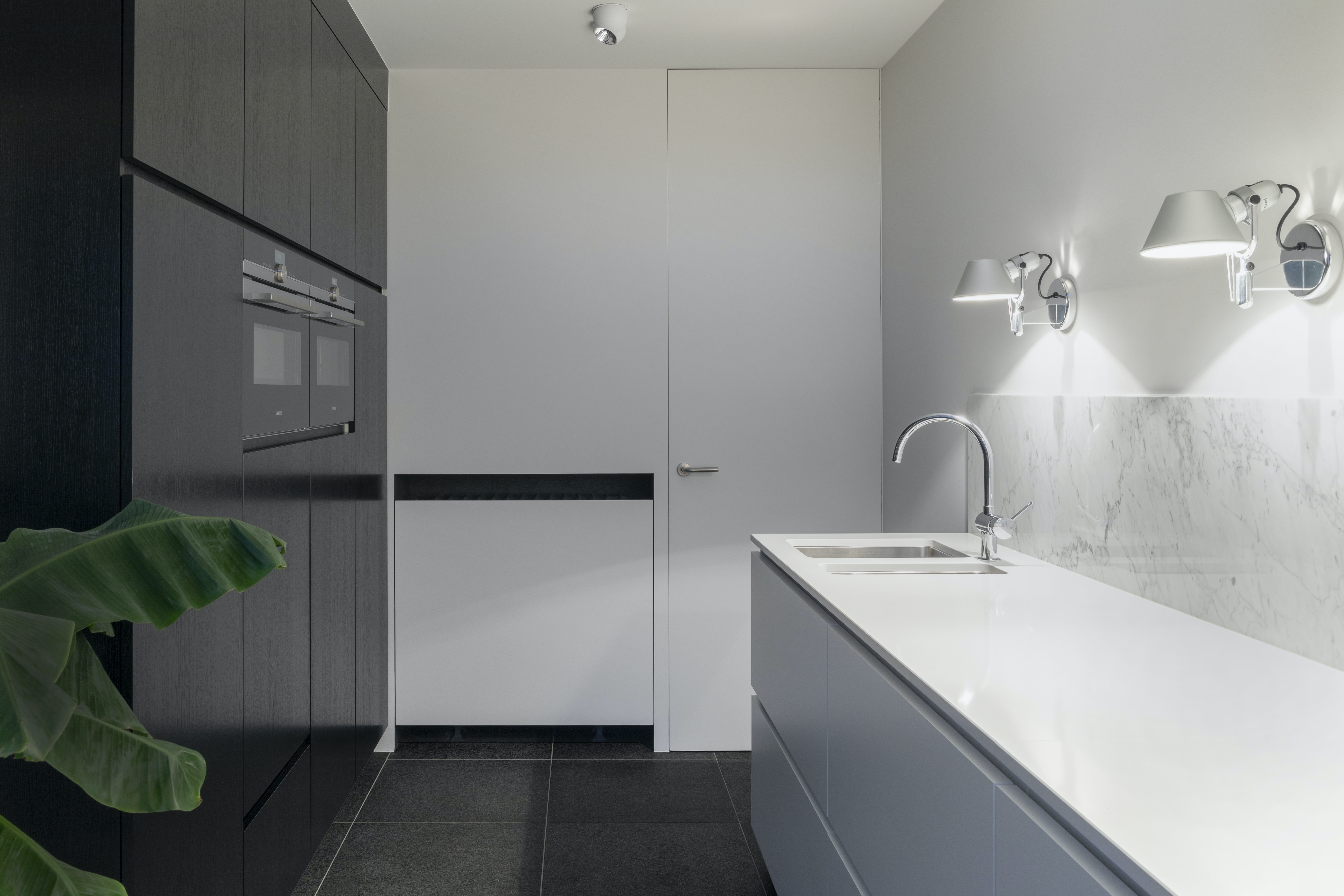 white stainless steel sink with faucet beside closed door
