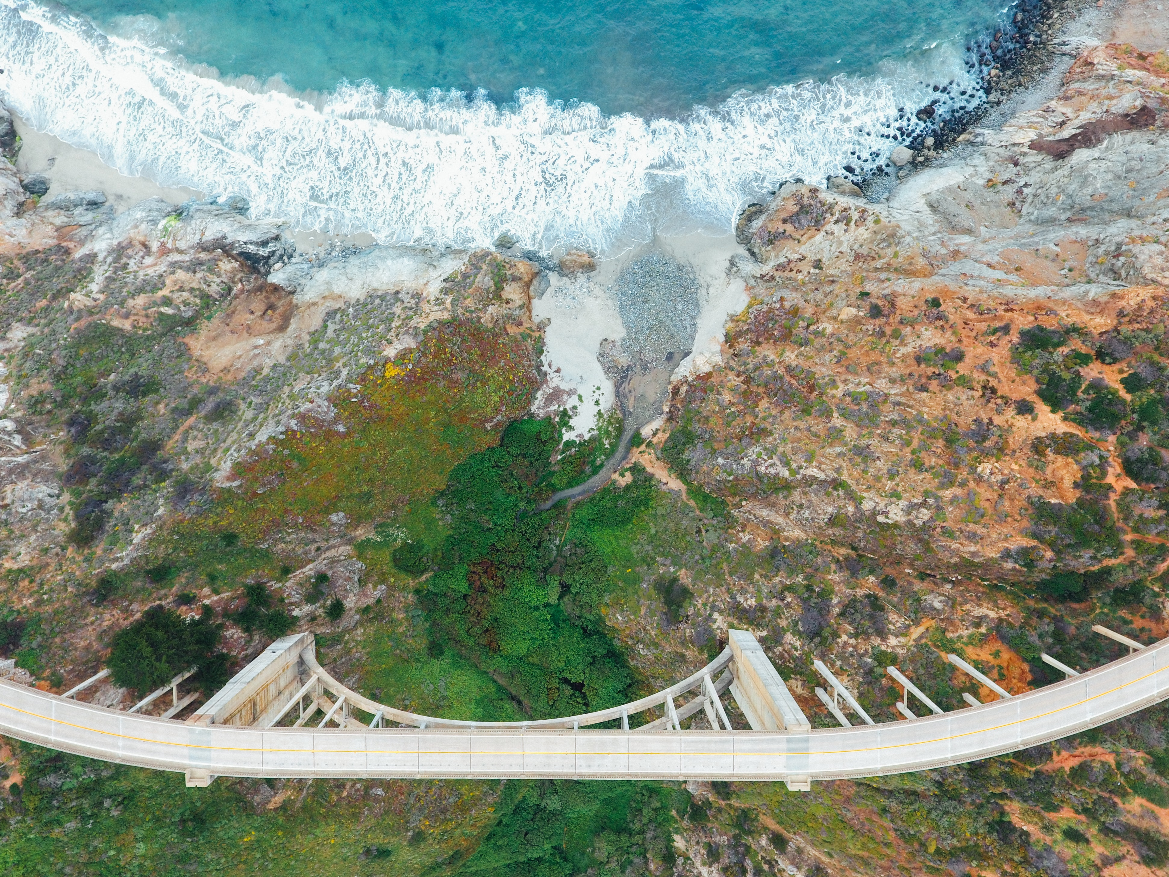 aerial photography of bridge above forest and body of water