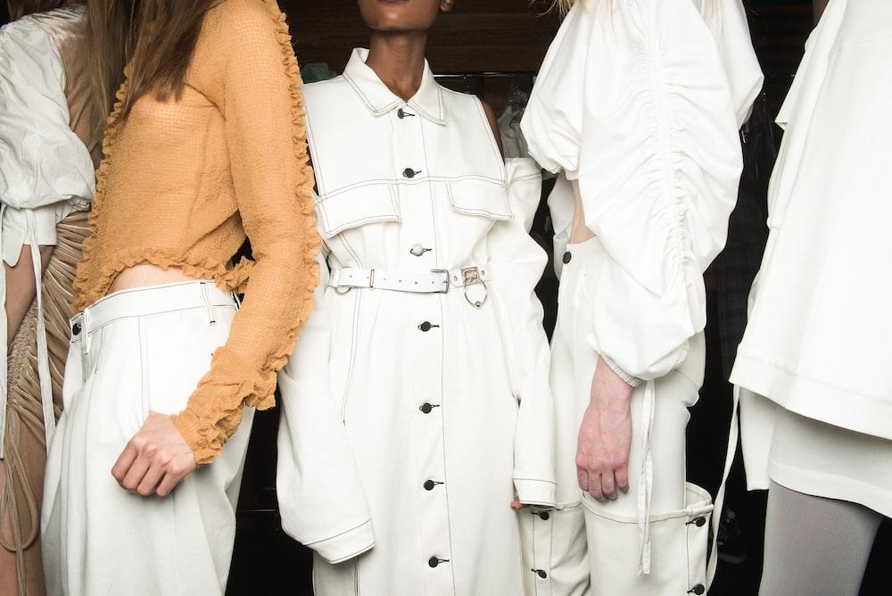 women's white button-up coat