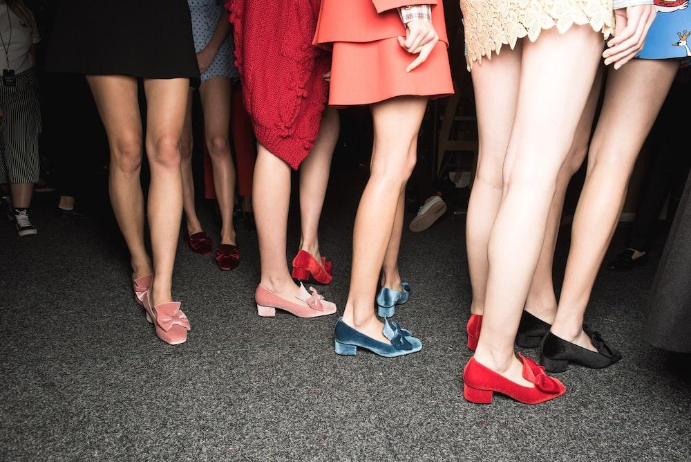 pair of women's red suede kitten heel