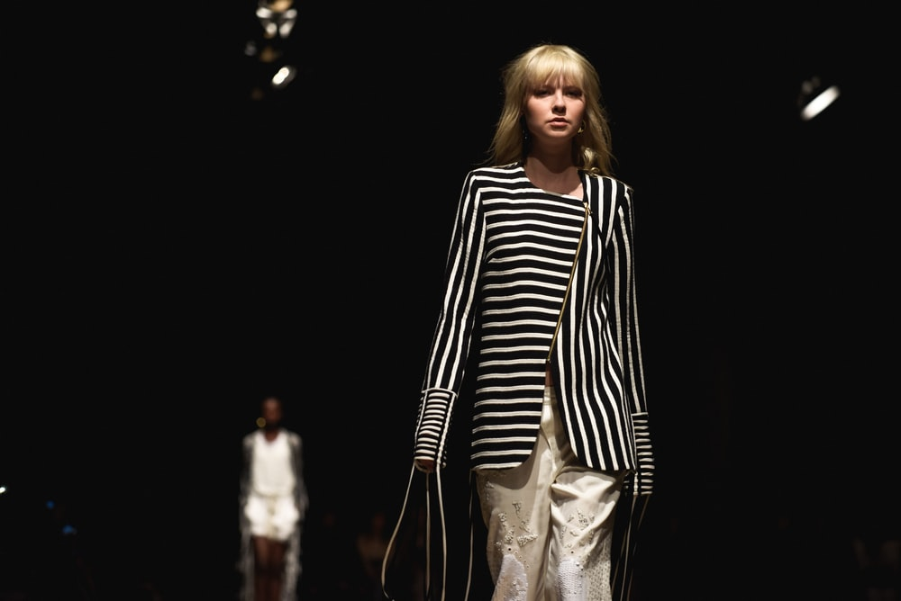 women's black and white striped coat