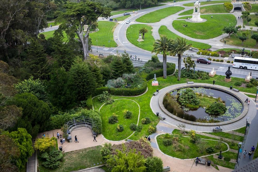 high angle photo of park