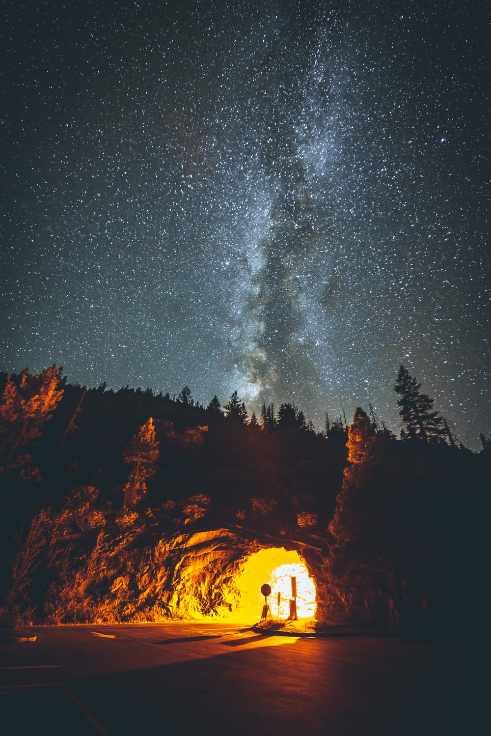road tunnel under starry sky