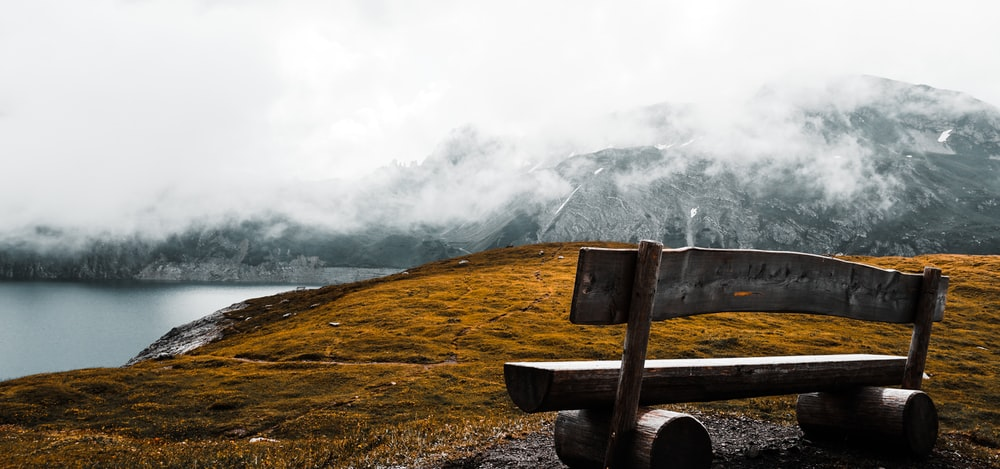 brown wooden bench on cliff