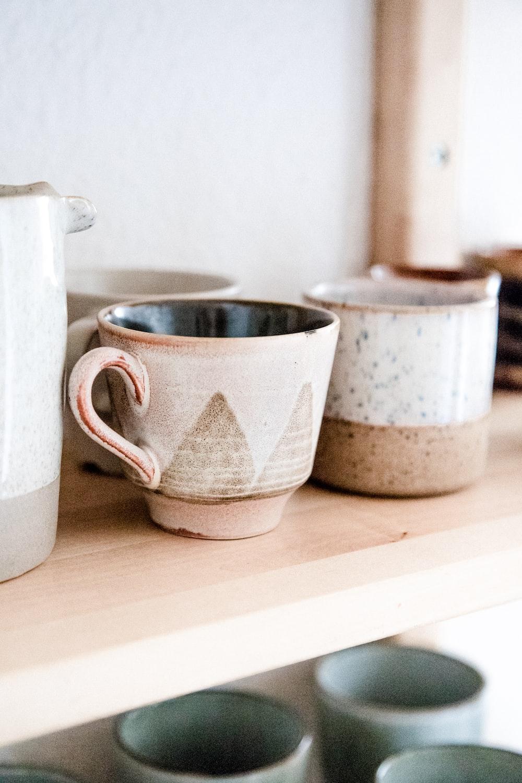 two white ceramic mug