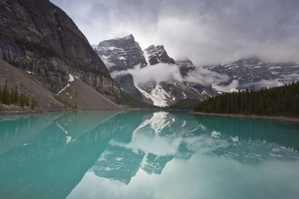 blue lake during cloudy sky