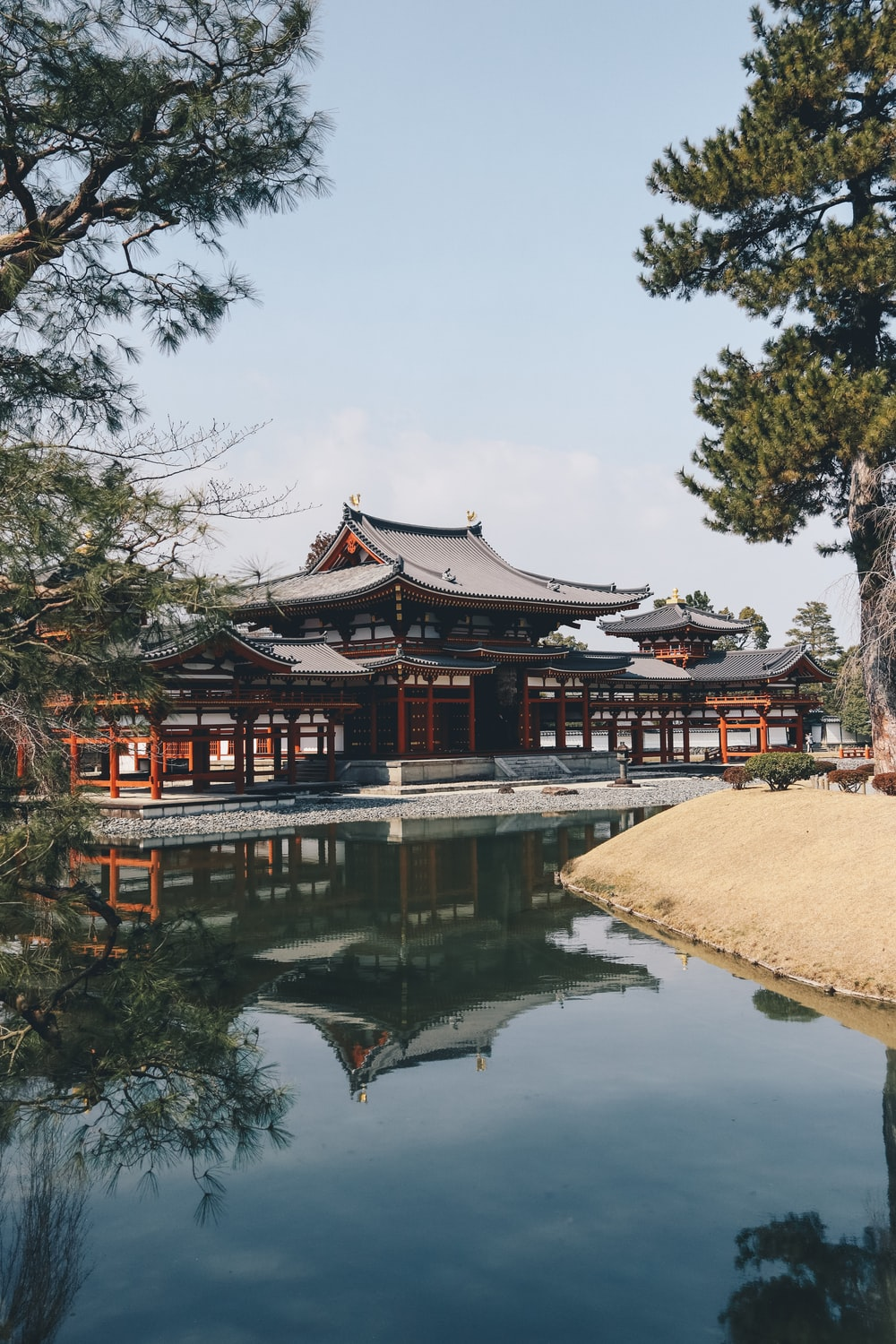 temple in front of calm body of water