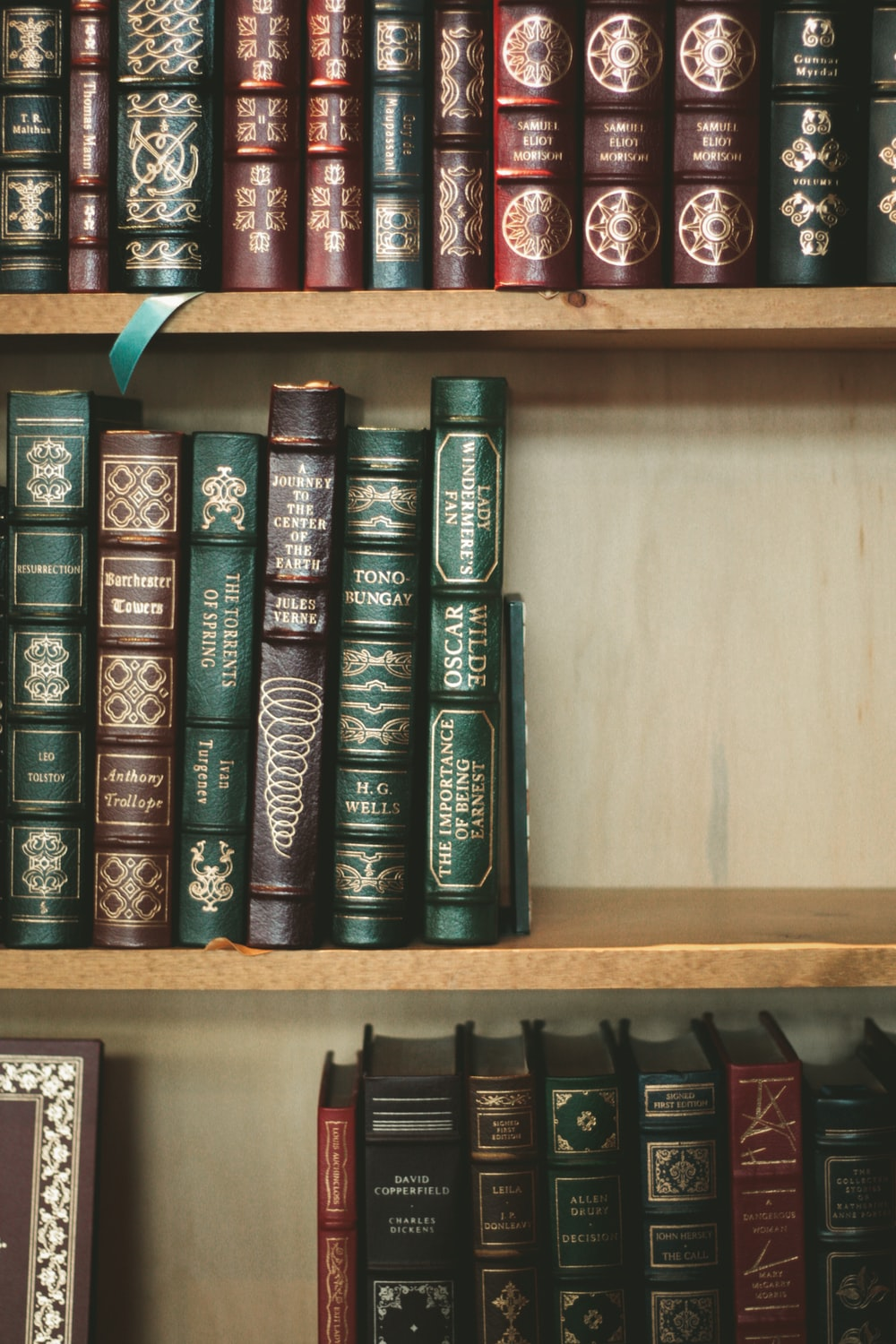 assorted books on wooden bookcase