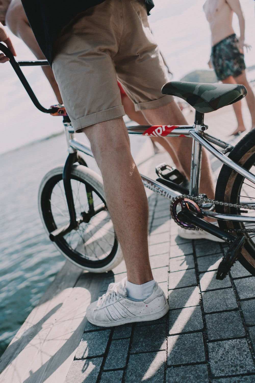 person ridding BMX bike