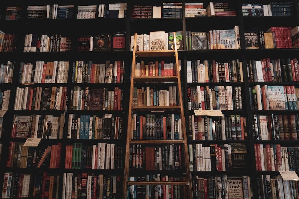 brown wooden ladder leaning of bookshelf