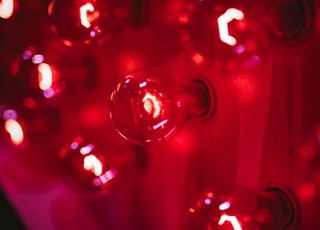 selective photo of red bulb lights