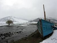 blue wooden boat near land