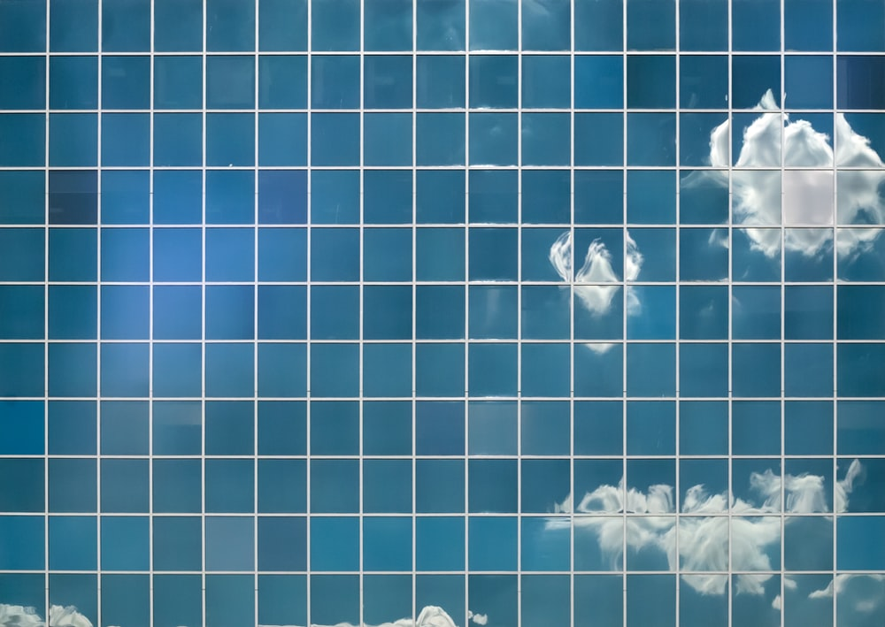 blue and white clouds illustrationb