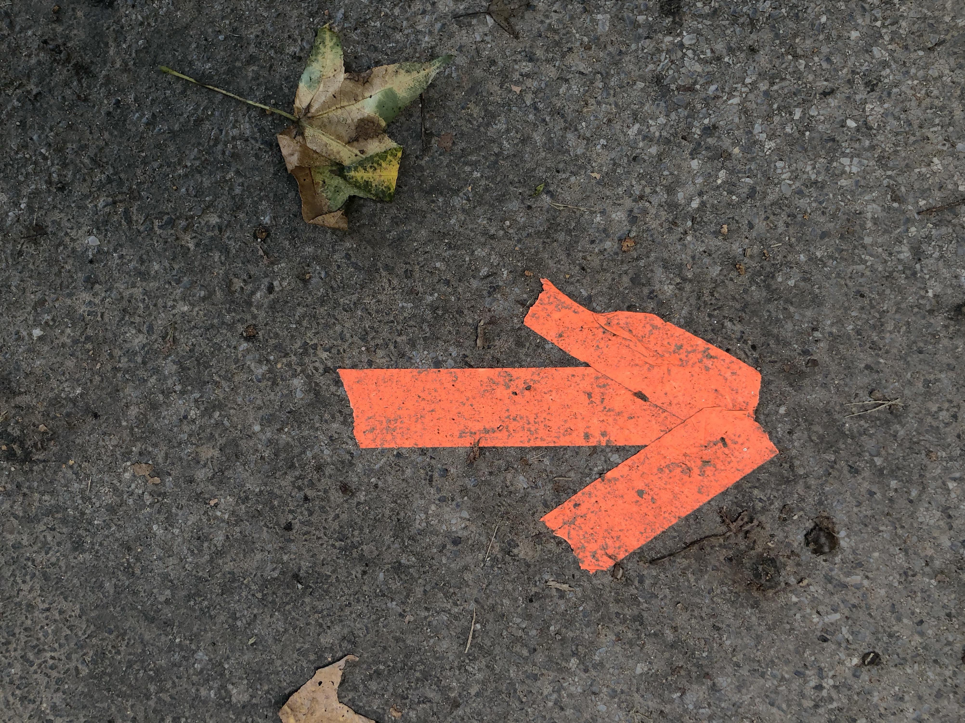orange arrow paint in right destination