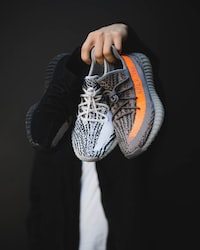 pair of gray adidas Yeezy Boost 350 V2 shoes