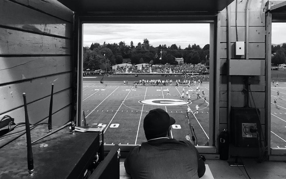 grayscale photo of Georgia Bulldogs field