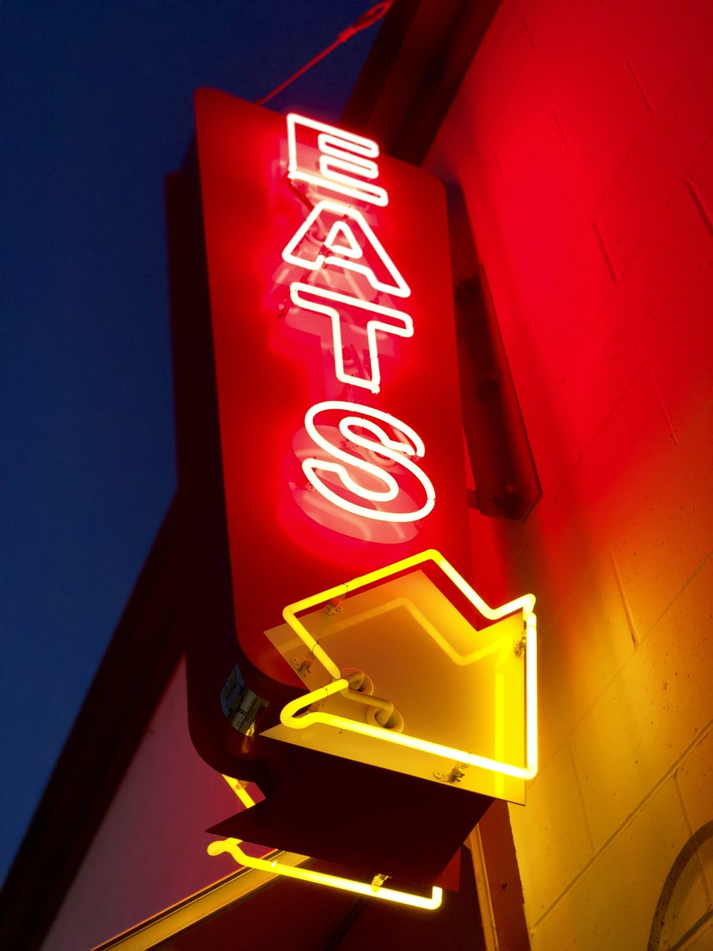 red and yellow eats LED signage turned on