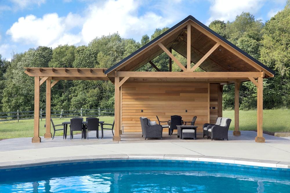 patio bistro set beside pool