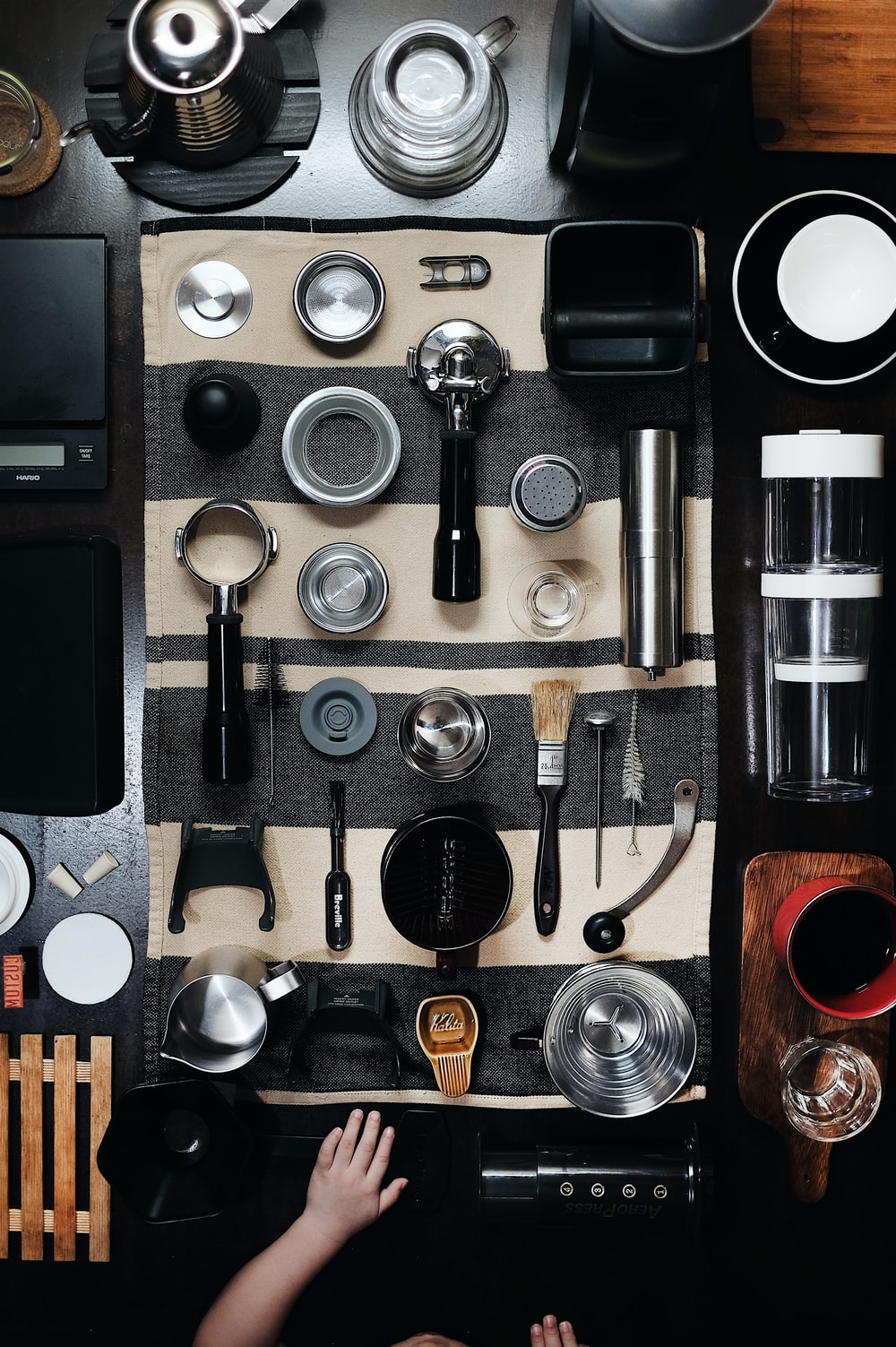 top view photo of table with kitchen tools