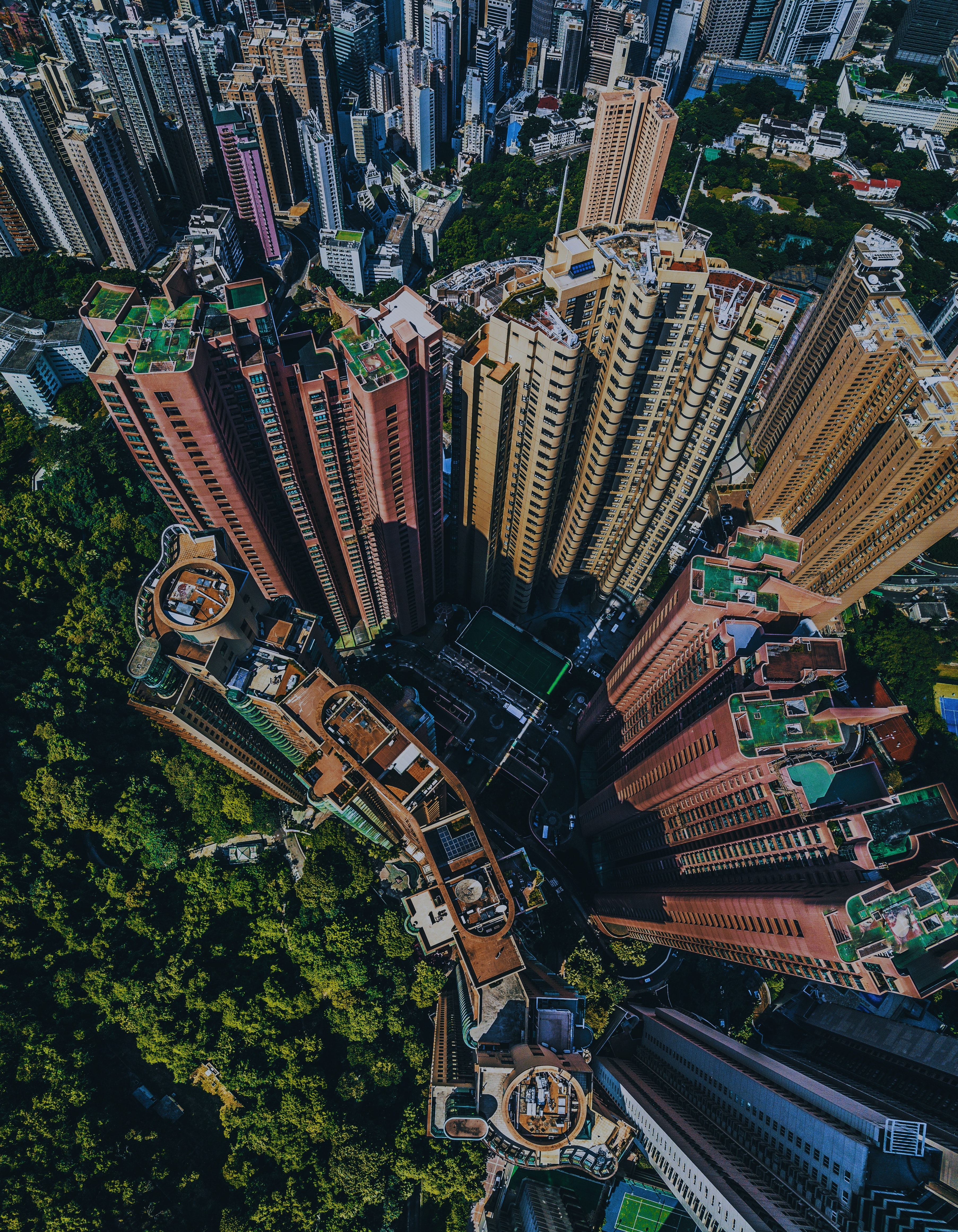 city buildings on top view