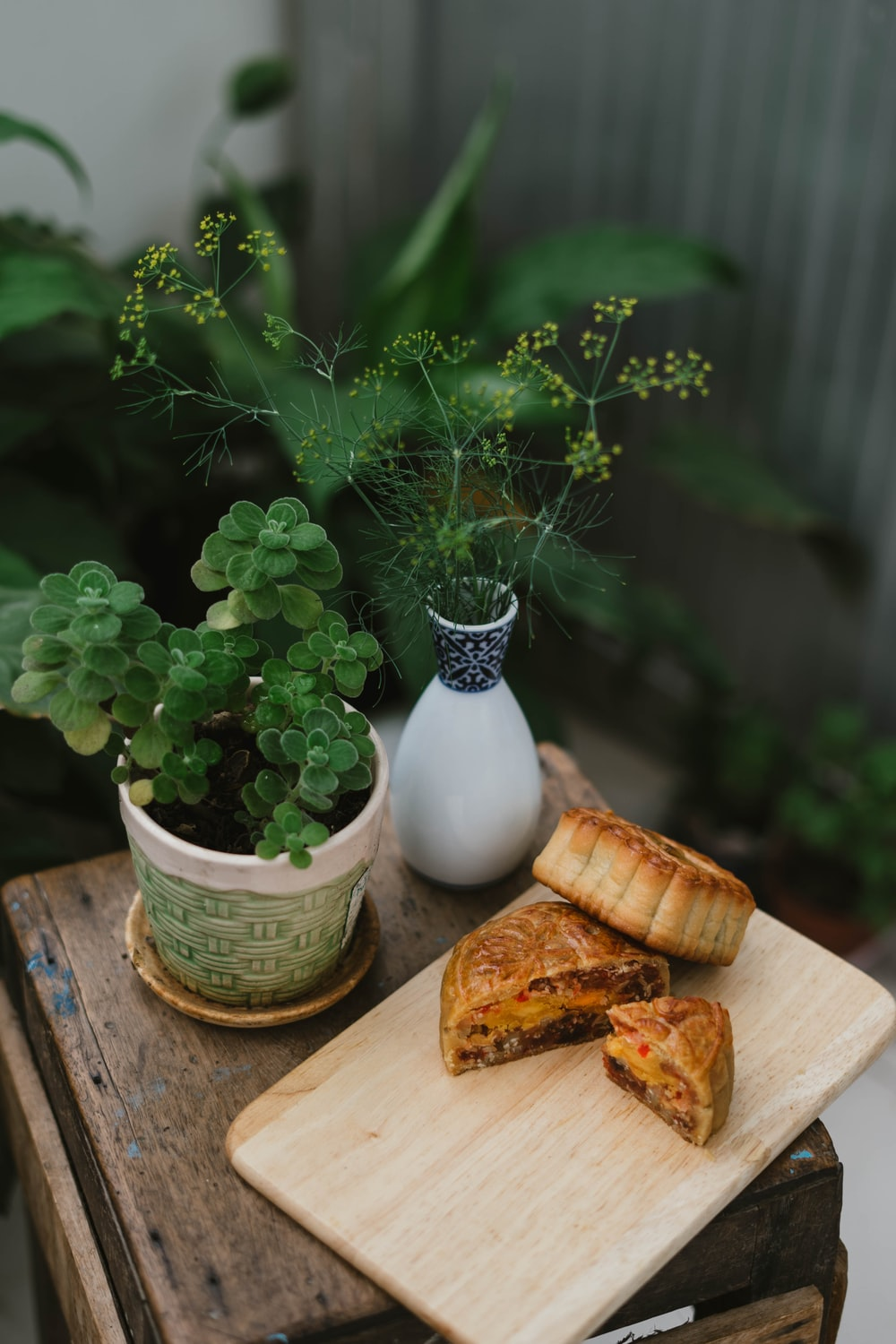 baked moon cake on tray beside plants