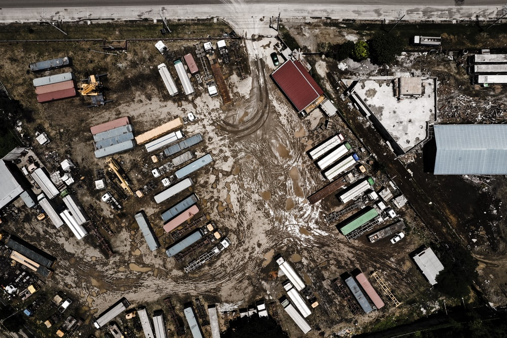 aerial photo of intermodal containers